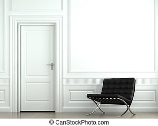interior design classic wall with chair