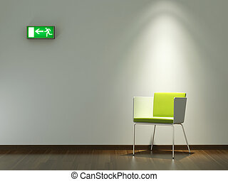 interior design green chair on white wall