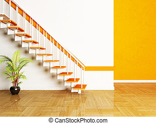 a plant and a stairs in the room