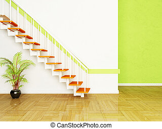 a plant and the stairs in the room