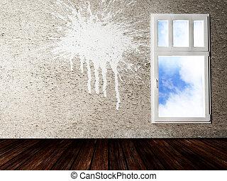 Interior design shene with a window