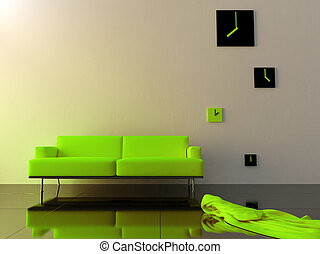 Interior - Green velvet sofa and time zone clock
