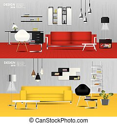 Interior Living Room with Furniture set Vector Illustration