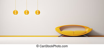Interior with orange sofa 3d
