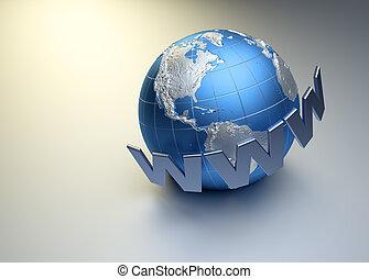 www word surrounding Earth globe - 3d render