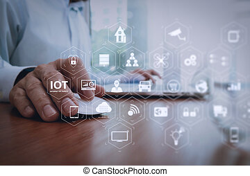 businessman hand working with modern technology as business strategy concept
