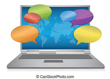 Internet social media concept laptop design