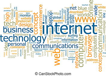 Word cloud concept illustration of internet web
