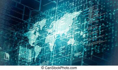 Internet worldwide data computing concept
