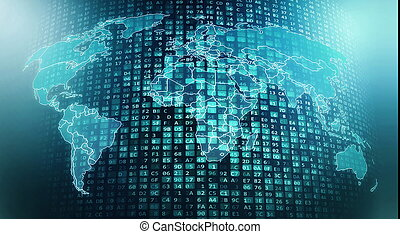 Internet worldwide global digital data flows and processing