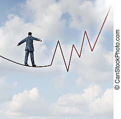 Investing risk and financial management leadership skill as a business concept and metaphor conquering adverity with a businessman walking on a high wire tight rope that is in the shape of a stock market graph on a sky background.