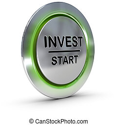 invest start button over white background, concept of investment and risk management