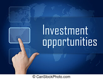 Investment opportunities concept with interface and world map on blue background