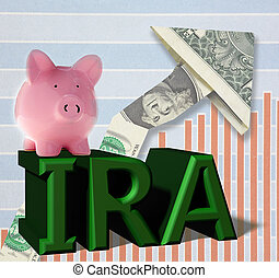 IRA piggy bank dollar