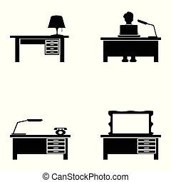 black desk icons set