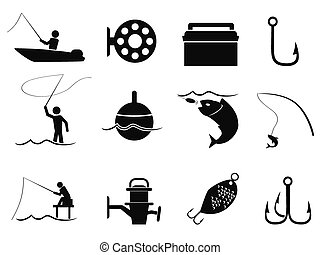 black fishing icons set