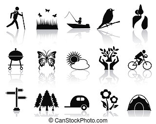 black park and garden icons set