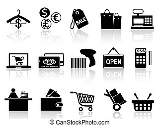isolated black retail and shopping icons set from white background