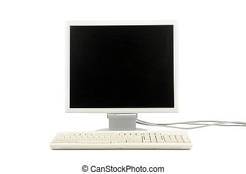 isolated computer lcd monitor and keyboard, concept of desktop computer