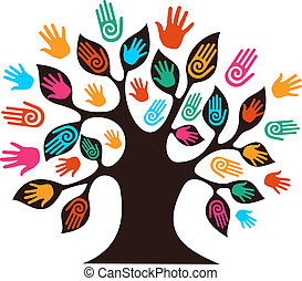 Isolated diversity tree hands illustration. Vector file layered for easy manipulation and custom coloring.