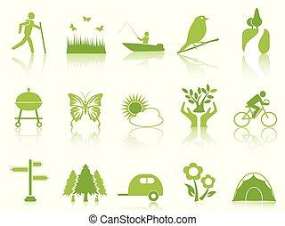 green color garden icons set