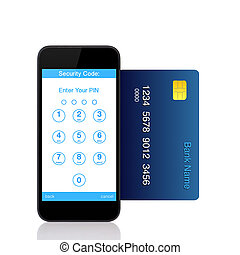 Isolated touch phone with buttons for the pin code on the screen and a blue credit card