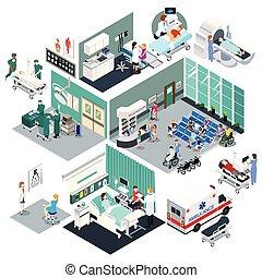 Isometric Design of a Hospital Vector Illustration