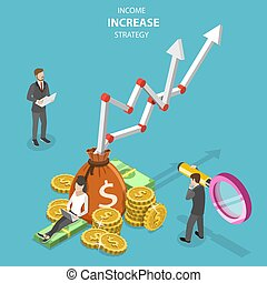 Isometric flat vector concept of income increase strategy, financial growth.