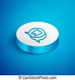 Isometric line Tooth icon isolated on blue background. Tooth symbol for dentistry clinic or dentist medical center and toothpaste package. White circle button. Vector