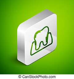 Isometric line Tooth icon isolated on green background. Tooth symbol for dentistry clinic or dentist medical center and toothpaste package. Silver square button. Vector