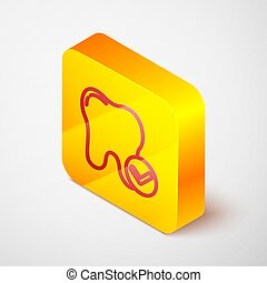 Isometric line Tooth whitening concept icon isolated on grey background. Tooth symbol for dentistry clinic or dentist medical center. Yellow square button. Vector