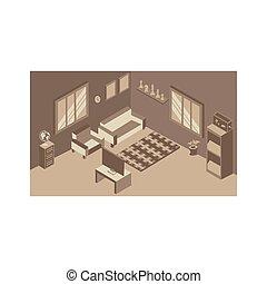 home isometric living room interior