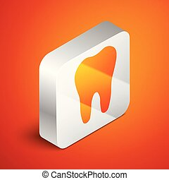 Isometric Tooth icon isolated on orange background. Tooth symbol for dentistry clinic or dentist medical center and toothpaste package. Silver square button. Vector Illustration