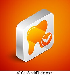 Isometric Tooth whitening concept icon isolated on orange background. Tooth symbol for dentistry clinic or dentist medical center. Silver square button. Vector