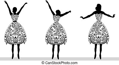 vector silhouette of young woman
