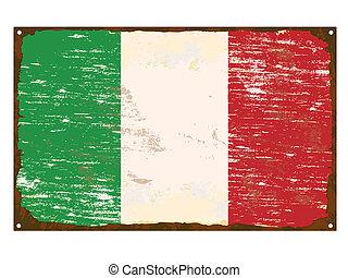 Italian flag on rusty old enamel sign