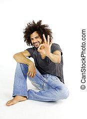 Italian male model ok sign isolated