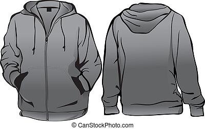 Sweatshirt or hoodie template with zipper vector