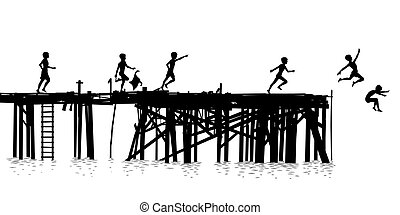 Editable vector silhouette of children jumping off a wooden jetty