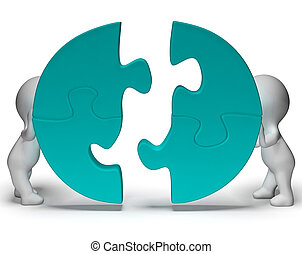 Jigsaw Pieces Being Joined Shows Teamwork And Togetherness