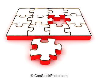 Jigsaw Puzzle isolated on white background. 3D image