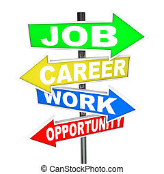 The words Job, Career, Work and Opportunity on colorful road signs with arrows pointing to new opportunities to advance your profession or working life to achieve success
