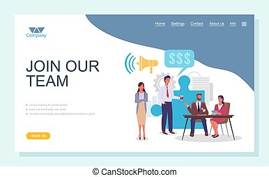 Join our team flat business concept. Teamwork landing page template. Business team, group of people