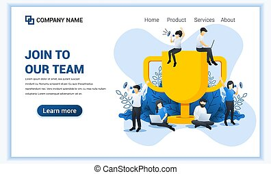 Join our team web banner concept. people near the big trophy are looking for partners and new members. Successful Business team work. Flat vector illustration
