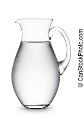 jug full of natural water, on white background