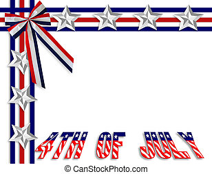 3 Dimensional illustration of Stars and Stripes for 4th of july patriotic border or background with copy space
