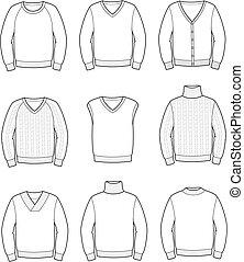Vector illustration. Set of men's knitted jumpers