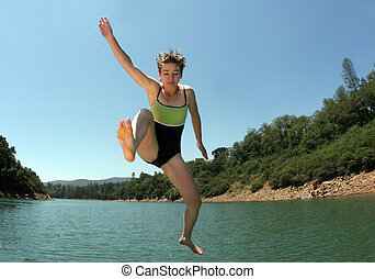Jumping in the lake