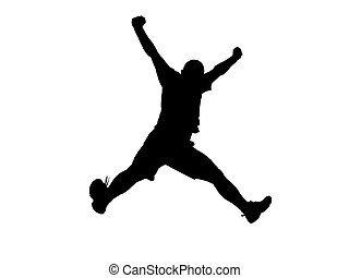 Black silhouette of a jumping man over white background