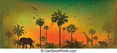 Vector illustration of silhouettes of animals at jungle